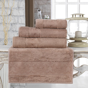 Полотенце для ванной Karna PANDORA бамбуковая махра кофейный 90х150