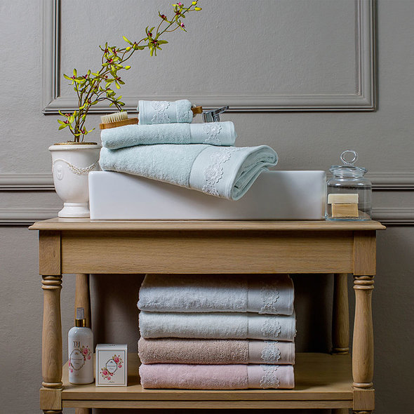 Подарочный набор полотенец для ванной 3 пр. Tivolyo Home KIRA хлопковая махра (зелёный), фото, фотография