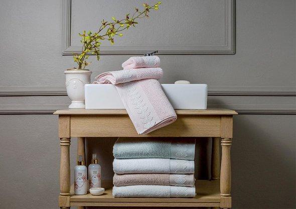 Подарочный набор полотенец для ванной 3 пр. Tivolyo Home TESS хлопковая махра (зелёный), фото, фотография