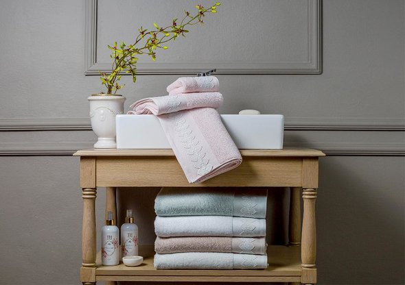 Подарочный набор полотенец для ванной 3 пр. Tivolyo Home TESS хлопковая махра (кремовый), фото, фотография