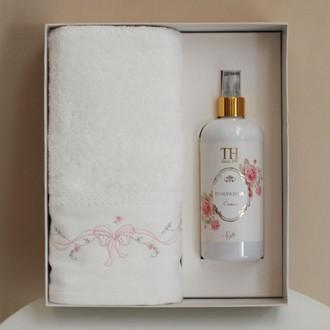 Полотенце для ванной в подарочной упаковке Tivolyo Home SPRING хлопковая махра (кремовый)