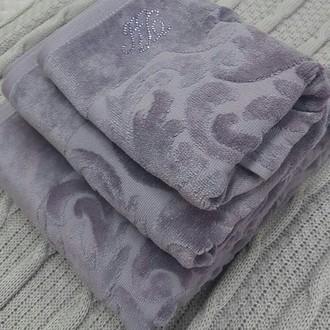Подарочный набор полотенец для ванной 3 пр. Tivolyo Home BAROC хлопковая махра лиловый