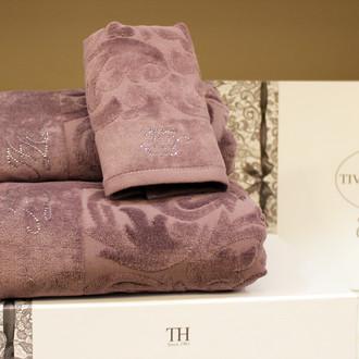 Подарочный набор полотенец для ванной 3 пр. Tivolyo Home BAROC хлопковая махра (фиолетовый)