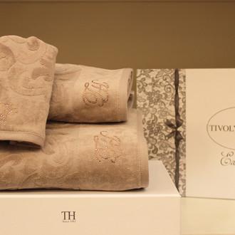 Подарочный набор полотенец для ванной 3 пр. Tivolyo Home BAROC хлопковая махра (коричневый)