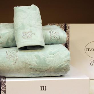 Подарочный набор полотенец для ванной 3 пр. Tivolyo Home BAROC хлопковая махра (бирюзовый)