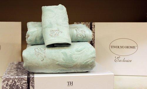 Подарочный набор полотенец для ванной 3 пр. Tivolyo Home BAROC хлопковая махра бирюзовый, фото, фотография
