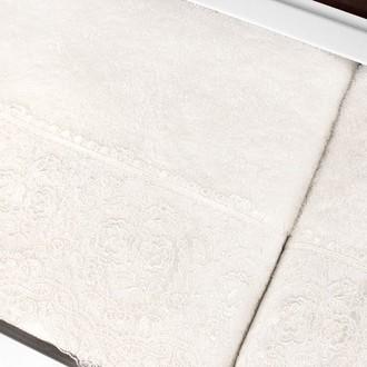 Подарочный набор полотенец для ванной 2 пр. Tivolyo Home ELEGANT хлопковая махра (кремовый)