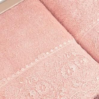 Подарочный набор полотенец для ванной 2 пр. Tivolyo Home ELEGANT хлопковая махра (пудра)