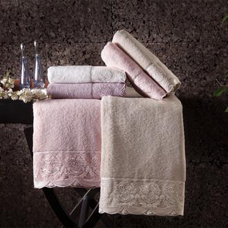 Подарочный набор полотенец для ванной 2 пр. Tivolyo Home DIAMANT хлопковая махра бежевый
