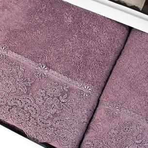 Подарочный набор полотенец для ванной 2 пр. Tivolyo Home MINOSA хлопковая махра фиолетовый