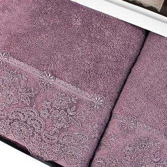 Подарочный набор полотенец для ванной 2 пр. Tivolyo Home MINOSA хлопковая махра (фиолетовый)