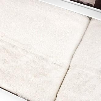 Подарочный набор полотенец для ванной 2 пр. Tivolyo Home MINOSA хлопковая махра (кремовый)