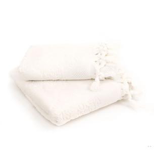 Подарочный набор полотенец для ванной 2 пр. Tivolyo Home NERVURES хлопковая махра кремовый