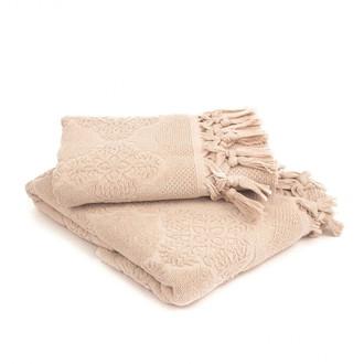 Подарочный набор полотенец для ванной 2 пр. Tivolyo Home NERVURES хлопковая махра бежевый