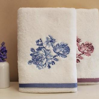 Полотенце для ванной в подарочной упаковке Tivolyo Home FLOWER хлопковая махра (синий)