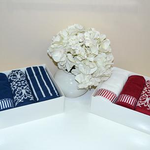 Набор полотенец для ванной в подарочной упаковке 40х60 4 шт. Tivolyo Home CASABLANCA хлопковая махра тёмно-синий
