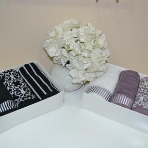 Набор полотенец для ванной в подарочной упаковке 40х60 4 шт. Tivolyo Home CASABLANCA хлопковая махра чёрный