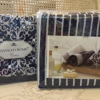 Подарочный набор полотенец для ванной 2 пр. Tivolyo Home CASABLANCA LINE хлопковая махра (тёмно-синий)