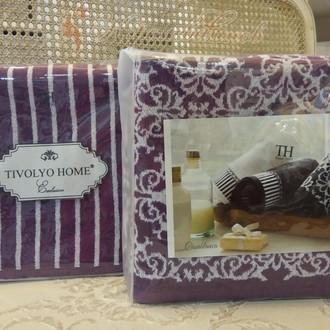 Подарочный набор полотенец для ванной 2 пр. Tivolyo Home CASABLANCA LINE хлопковая махра (фиолетовый)