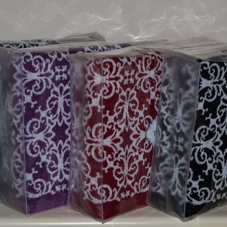 Подарочный набор полотенец для ванной 2 пр. Tivolyo Home CASABLANCA FLOWER хлопковая махра (тёмно-синий)