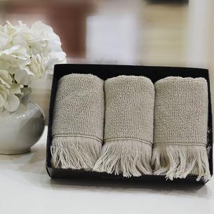 Набор полотенец для ванной в подарочной упаковке 32х50 3 шт. Soft Cotton FRINGE хлопковая махра бежевый