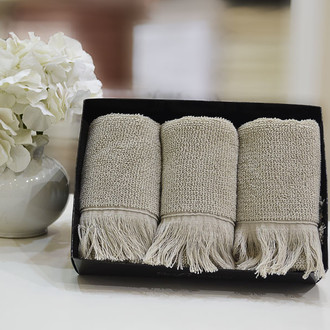 Набор полотенец для ванной в подарочной упаковке 32*50 3 шт. Soft Cotton FRINGE хлопковая махра бежевый