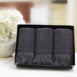 Набор полотенец для ванной в подарочной упаковке 32х50 3 шт. Soft Cotton FRINGE хлопковая махра антрацит
