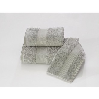 Набор полотенец для ванной в подарочной упаковке 32*50, 50*100, 75*150 Soft Cotton DELUXE хлопковая махра серый