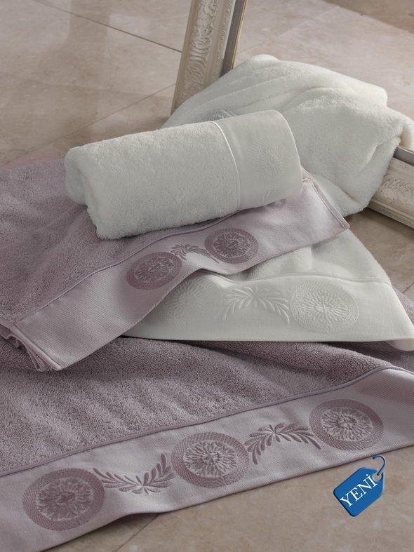 Полотенце для ванной Soft Cotton QUEEN хлопковая махра лиловый 85х150, фото, фотография