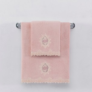 Полотенце для ванной Soft Cotton DESTAN хлопковая махра тёмно-розовый 85х150