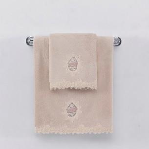 Полотенце для ванной Soft Cotton DESTAN хлопковая махра пудра 85х150