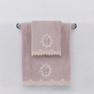 Набор полотенец для ванной в подарочной упаковке 32*50, 50*100, 85*150 Soft Cotton DESTAN хлопковая махра (лиловый)