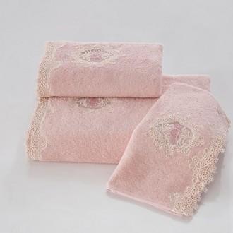 Набор полотенец для ванной в подарочной упаковке 32*50(3) Soft Cotton DESTAN хлопковая махра (тёмно-розовый)
