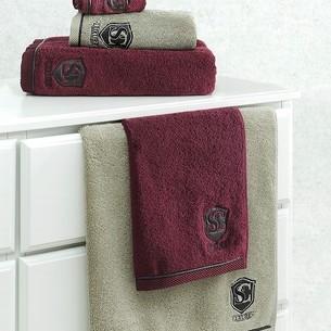 Набор полотенец для ванной в подарочной упаковке 32х50, 50х100, 85х150 Soft Cotton LUXURE хлопковая махра бордовый