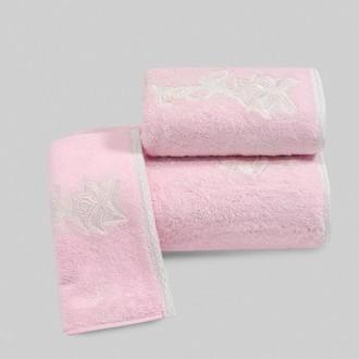 Набор полотенец для ванной в подарочной упаковке 32х50 3 шт. Soft Cotton PANDORA хлопковая махра розовый