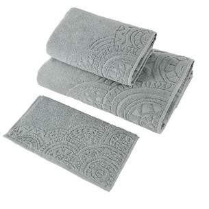 Набор полотенец для ванной в подарочной упаковке 30х50 3 шт. Soft Cotton CIRCLE хлопковая махра серый