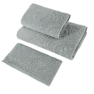 Набор полотенец для ванной в подарочной упаковке 30*50 3 шт. Soft Cotton CIRCLE хлопковая махра серый
