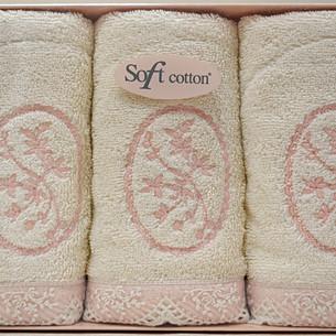 Набор полотенец для ванной в подарочной упаковке 32х50 3 шт. Soft Cotton BUKET хлопковая махра кремовый