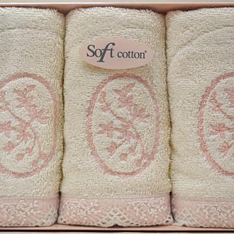 Набор полотенец для ванной в подарочной упаковке 32*50(3) Soft Cotton BUKET хлопковая махра (кремовый)