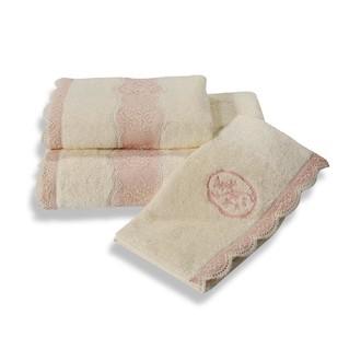 Набор полотенец для ванной в подарочной упаковке 32*50, 50*100, 85*150 Soft Cotton BUKET хлопковая махра (кремовый)