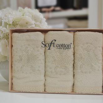 Набор полотенец для ванной в подарочной упаковке 32*50(3) Soft Cotton YONCA хлопковая махра (кремовый)
