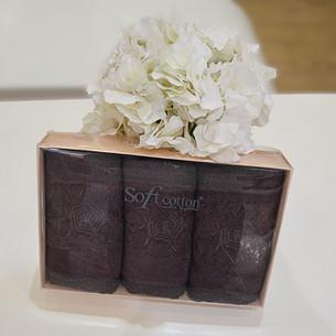 Набор полотенец для ванной в подарочной упаковке 32х50 3 шт. Soft Cotton YONCA хлопковая махра фиолетовый