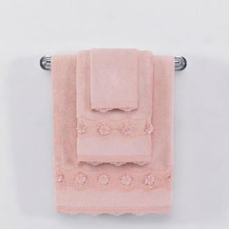 Полотенце для ванной Soft Cotton YONCA хлопковая махра тёмно-розовый
