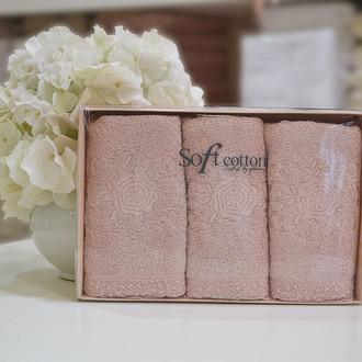 Набор полотенец для ванной в подарочной упаковке 32*50(3) Soft Cotton YONCA хлопковая махра (тёмно-розовый)