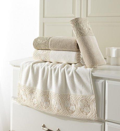 Полотенце для ванной Soft Cotton ELIZA хлопковая махра бежевый 50х100, фото, фотография