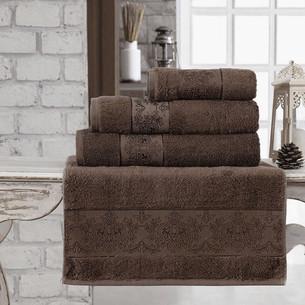 Полотенце для ванной Karna PANDORA бамбуковая махра тёмно-коричневый 90х150