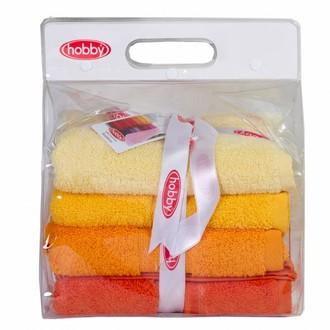 Набор полотенец для ванной в подарочной упаковке 4 шт. Hobby Home Collection RAINBOW хлопковая махра (жёлтый)
