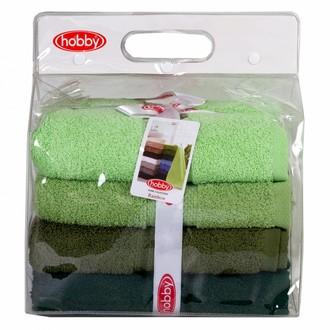 Набор полотенец для ванной в подарочной упаковке 4 шт. Hobby Home Collection RAINBOW хлопковая махра (зелёный)
