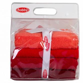 Набор полотенец для ванной в подарочной упаковке 4 шт. Hobby Home Collection RAINBOW хлопковая махра (красный)