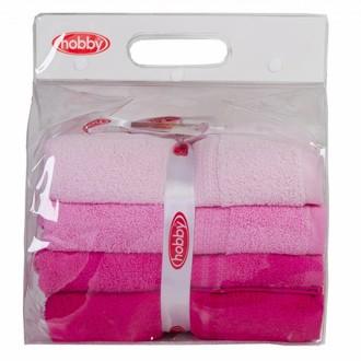 Набор полотенец для ванной в подарочной упаковке 4 шт. Hobby Home Collection RAINBOW хлопковая махра (розовый)